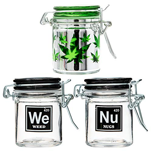 Airtight Glass Herb Stash Jar Set of 3 - Weed, Nugs, and Pot Leaf Designs, 1.5oz, 2.5 Inches