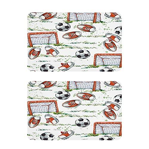 Hunihuni - Juego de 2 imanes para nevera, diseño de metas de fútbol de acuarela, para el hogar, cocina, taquilla, oficina, pizarra, blanco