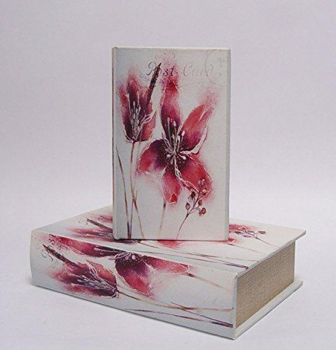 Deko Buchbox Kiste im Buchformat Aufbewahrungsbox 2er Set Romantik Motiv: Blumen
