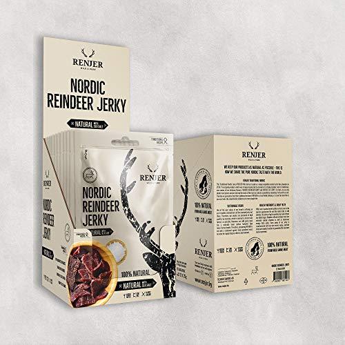 Carne Secca di Renna Gusto Sale Marino   RENJER Nordic Reindeer Jerky   Snack Proteico a Basso Contenuto di Carboidrati e Grassi   Senza Glutine   Confezione Risparmio (12 x 25g)  