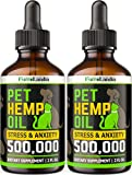 FurroLandia (2 Pack) Hemp Oil for Dogs - 500,000 - Separation Anxiety, Joint Pain, Stress & Inflammation Relief - Pet Hemp Oil Calming Drops - Dog Calming Aid - Rich in Omega 3-6-9 - Made in USA