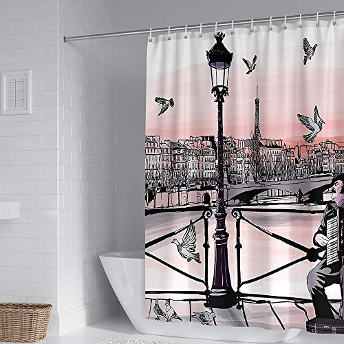Duschvorhang Wasserdicht Duschvorhang,Anti-Schimmel Polyester Duschvorhang mit 12 Duschvorhangringe Waschbar Duschvorhang für Dusche & Badewanne Weiße Taube Straßenleuchte-W183xh183cm