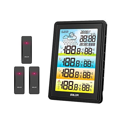FLYLAND Estación Meteorológica Interior Exterior con 3 Sensor Inalámbrico al Aire Libre, con Pantalla Colorida Alarma Reloj Temperatura Barometro Humedad Monitor