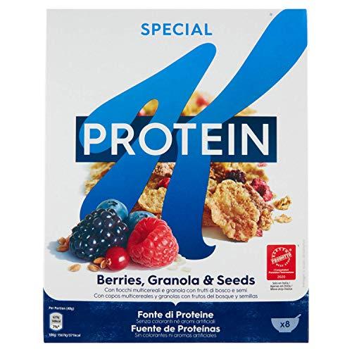 Kellogg's Special K Protein Frutti di Bosco Cereals Mehrkornflocken mit Beeren 320g Mehrkorn- und Weizenflocken Getreideflocken mit Hafer Roggen Samen und gefriergetrocknete Früchte