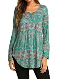 Halife Womens Tops for Work, Floral Print V Neck Pleated Casual Blouse Office Wear Dark Green, L