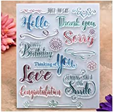 Kwan Crafts Words Thank You Happy Birthday Love Smile Congratulation Clear Stamps for Card Making Decoration and DIY Scrapbooking