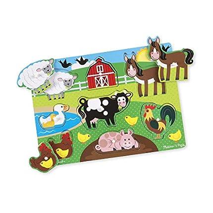 Melissa & Doug- Farm Peg Juego Puzzle, Multicolor (19050)