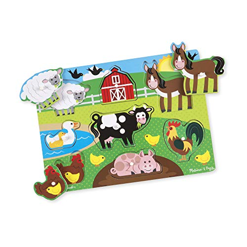 Melissa & Doug Wooden Peg Puzzle - Farm Animals | Puzzles | Wood | 2+ | Gift for Boy or Girl
