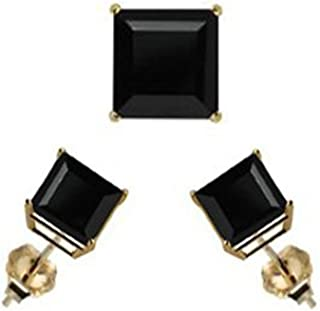 14K Yellow Gold Stud Earring Aprx 1 Carat Total Weight, 4mm Each Princess Cut Black Simulated Diamond Earring. Set on Prong Setting & Friction Style Post