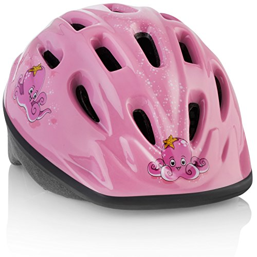 TeamObsidian Kids Bike Helmet [ Pink Octopus ] – Adjustable from Toddler to Youth Size, Ages 3-7 - Durable Kid Bicycle Helmets with Fun Designs Girls Will Love - CPSC Certified - FunWave
