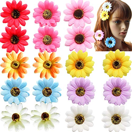 18 Pieces 2' 2 Inch Dasiy Flowers in Pairs Artificial Floral Hair Clips for Girls and Women Beach Wedding Bridal Accessories
