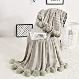 ABREEZE Throw Blanket for Couch, 40 x 60 Inch Grey Pom Pom Throw Blanket Knit Blanket with Pom Poms, Fuzzy, Fluffy, Plush, Soft, Cozy, Warm Knitted Cover, Decorative Cotton Blanket for Sofa Bed