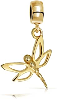 Dragonfly Butterfly Dangle Bead Charm For Women For Teen 14K Gold Plated 925 Sterling Silver Fits European Bracelet