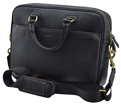 Suncase Echt lederen tas aktetas Busintas voor notebook Macbook Tablet laptop tot 15,6 inch zwart