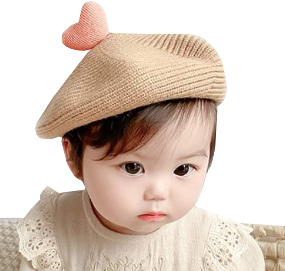 Novelty Babys Wool French Heart Beret for Baby, Classic Heart Macaron Beret, Warm and Soft 4 Season Hat for Baby