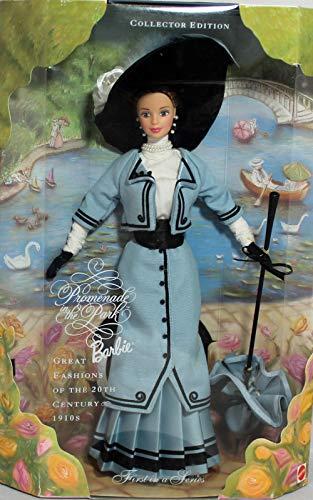 BARBIE poupée brune robe bleu et noir + parapluie et grand chapeau - PROMENADE in the park GREAT FASHION - collector edition - mattel 1997