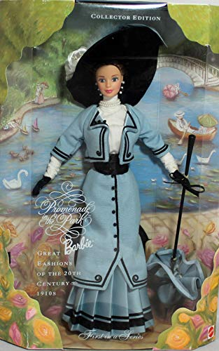 BARBIE poupée brune robe bleu et noir + parapluie et grand chapeau - PROMENADE in the park GREAT FASHION - collector edition - mattel 1997