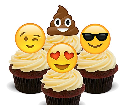 Emoji Eetbare Cupcake Toppers - Stand-up Wafer Cake Decoraties