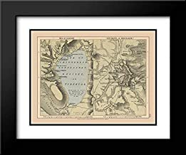 Jerusalem Sea of Galilee Israel - Case 1878 24x20 Black Modern Frame and Double Matted Art Print by Case Vintage Map