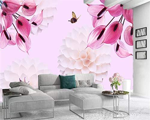 Benutzerdefinierte 3D-Blumentapete Lehren und Erforschen Calla Lily Butterfly Schöne und romantische Dekoration Wandtapete