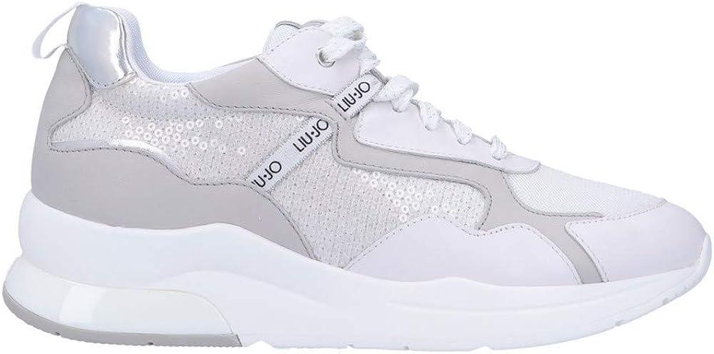 Liu jo karlie ,sneaker casual da donna,scarpe sportive,in pelle e tessuto bianco. inserti con paillettes 41676-36