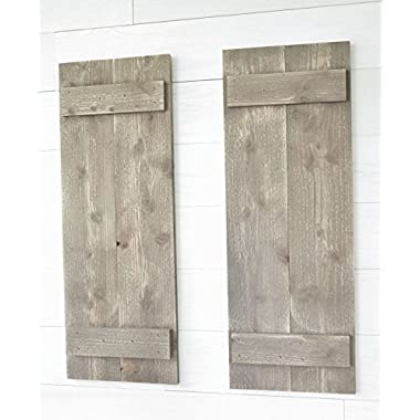 Rustic Barnwood Farmhouse Style Wood Shutters Set Of Two 30  x 11