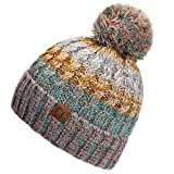 Hatsandscarf C.C Women's Winter Slouchy Knitted Hat Cable Knit Pom Beanie Hat (Rose/Mint)