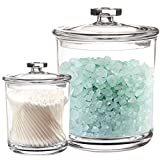 Youngever 2 Pack Clear Plastic Apothecary Jars, 1 Pack 60 Ounce and 1...