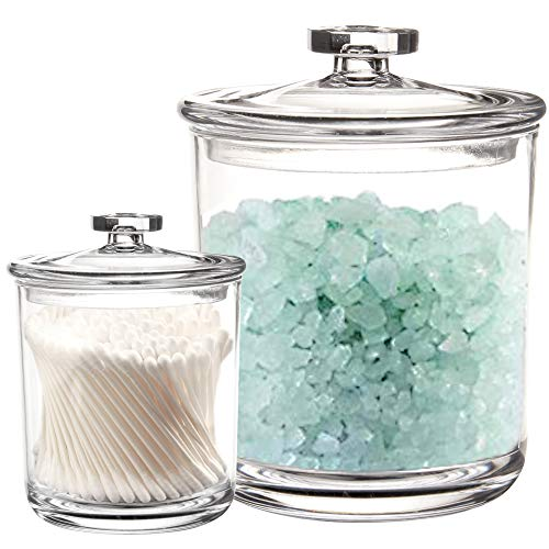 Youngever 2 Pack Clear Plastic Apothecary Jars, 1 Pack 60 Ounce and 1 Pack 15 Ounce