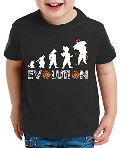 WhyKiki Evolution Super Son Camiseta para Niños T-Shirt Goku Dragon Master Ball Vegeta Turtle Roshi Db, Farbe2:Negro;Kinder T-Shirt Größe:122/128