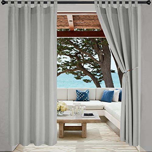 LORDTEX Indoor/Outdoor Curtains - Waterproof Tab Top Patio Curtains Sun Blocking Set of 2 Panels Thermal Insulated Curtain for Porch, Pergola, Cabana, Gazebo, 52 x 96 inch, Light Grey