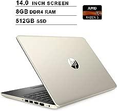 HP Pavilion 2019 Newest 14 Inch Premium Laptop - AMD Ryzen 3 3200U 2.6GHz up to 3.5GHz, AMD Radeon Vega 3, 8GB DDR4 RAM, 512GB SSD, HDMI, WiFi, Bluetooth, Windows 10 Home S, Gold