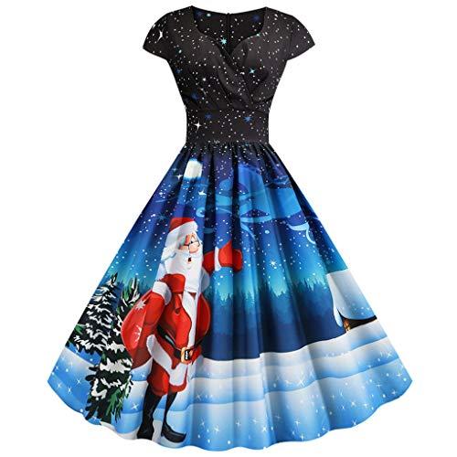 Vestido de cóctel para Mujer, de Manga Corta, con Estampado de Papá Noel, Estilo Rockabilly, Vintage, hasta la Rodilla, Elegante Vestido de Noche, Escote en V Azul M