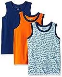 Amazon Essentials Kids Boys Sleeveless Tank Tops, 3-Pack Shark/Blue/Orange, Medium