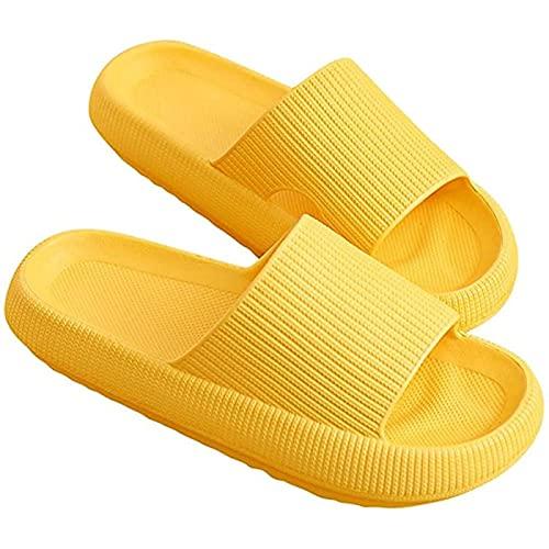 QBLDX Mujeres Hombres Almohada Toboganes Suaves Zapatillas de Casa Antideslizantes Zapatos de Suela Gruesa de Peso Ligero Sandalias de Ducha de Baño de Secado Rápido,Yellow-4.5/5.5uk