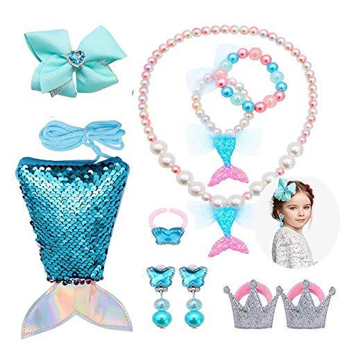 Gneric Kinder-Schmuckset, Meerjungfrau, kleine Mädchen, Ohrringe, Halskette, Haarnadel, 9-teiliges Prinzessinnen-Kostüm, Party-Verkleidung, Geschenk (3–10 Jahre), Meerjungfrauenblau