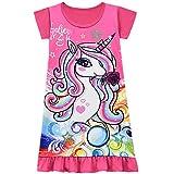 Kinder Mädchen Prinzessin Ride On The Unicorn Langarm Weihnachten Nachthemd Kleid Gr. 4-5 Jahre, rot