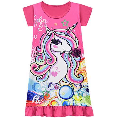 Kinder Mädchen Prinzessin Ride On The Unicorn Langarm Weihnachten Nachthemd Kleid Gr. 7-8 Jahre, rot