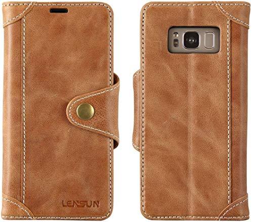 LENSUN Handyhülle Echtleder für Samsung Galaxy S8, Echtes Leder Hülle mit Magnetverschluss Lederhülle Handytasche Schutzhülle(5,8 Zoll) - Braun