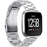 Aresh Compatible with Fitbit Versa/Versa lite/Versa Special Edition/Versa 2 Straps Bands,Metal Solid Band for Women Men(Silver)