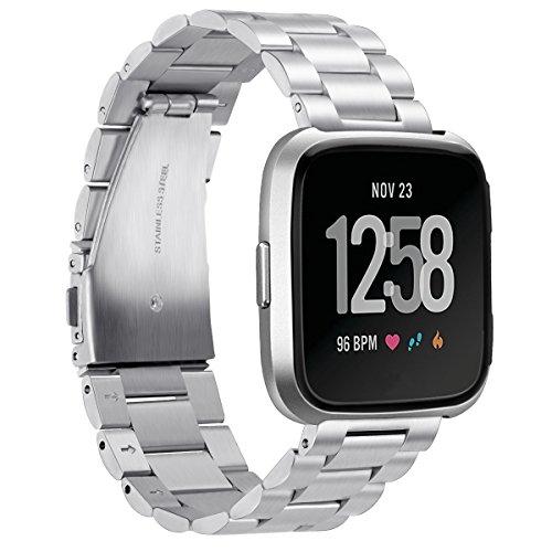 Goseth Ersatz-Armband für Fitbit Versa, aus massivem Edelstahl, für Damen und Herren