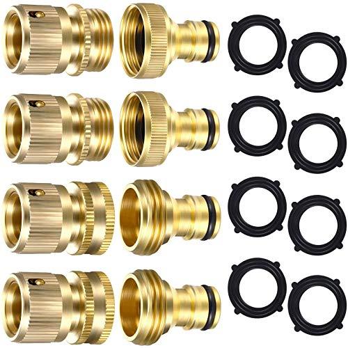 8 piezas de manguera de jardín de latón macizo conector rápido de manguera de jardín 3/4 pulgadas GHT con 8 piezas de 3/4 pulgadas juntas de caoutcho
