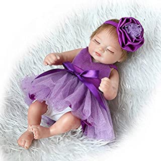Funny House 2018 New Handmade Sleeping Full Body Silicone Soft Vinyl Real Looking Reborn Baby Dolls 10''/26cm Purple Dress Lifelike Newborn Girl Doll Xmas Gifts