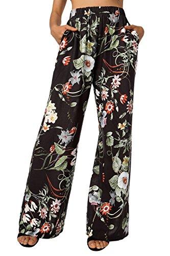 BAISHENGGT Damen Blumenmuster Locker Weite Beine Lange Hose mit Seitentaschen Schwarz-Blumen M