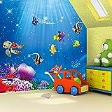 Papel tapiz 3D Mural 3D dibujos animados niños dormitorio papel tapiz Mural acuario mundo submarino tamaño personalizado 200x140cm