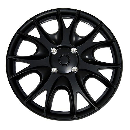 TuningPros WC-15-3533-B 15-Inches Pop On Type Improved Hubcaps Wheel Skin Cover Matte Black Set of 4