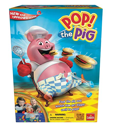 Goliath Pop The Pig Game — New and Improved — Belly-Busting Fun as You Feed Him Burgers and Watch His Belly Grow