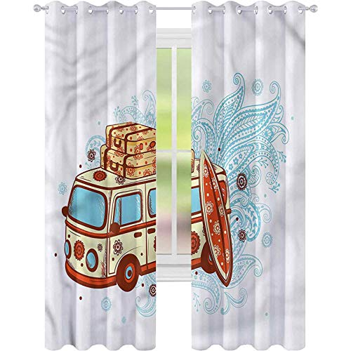 Room Darkening Blackout Curtains Vintage Hawaii Retro Van Suitcases W52 x L72 Blackout Curtain for Living Room