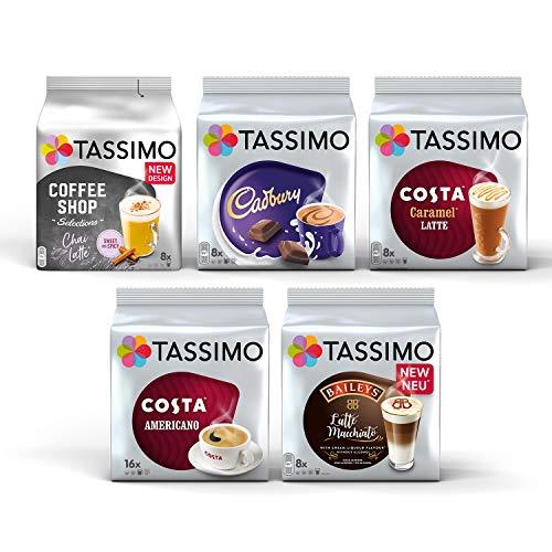 Tassimo Coffee Variety Pack - Costa Americano/Caramel Latte, Cadbury Choco, Chai Latte, Baileys Latte Macchiato Capsules