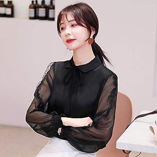 قمصان وتي شيرتات نسائية ربيعية طويلة الأكمام من الشيفون من الدانتيل قمصان نسائية أنيقة من Makfacp (اللون: أسود، المقاس: M)